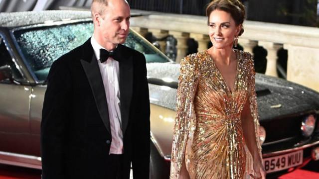 Кейт Мидълтън блести в златиста рокля на премиерата на новия филм за Джеймс Бонд