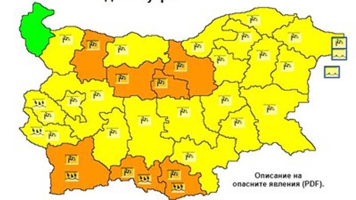 Жълт код за силен вятър в 19 области за събота, оранжев код - в 7 области
