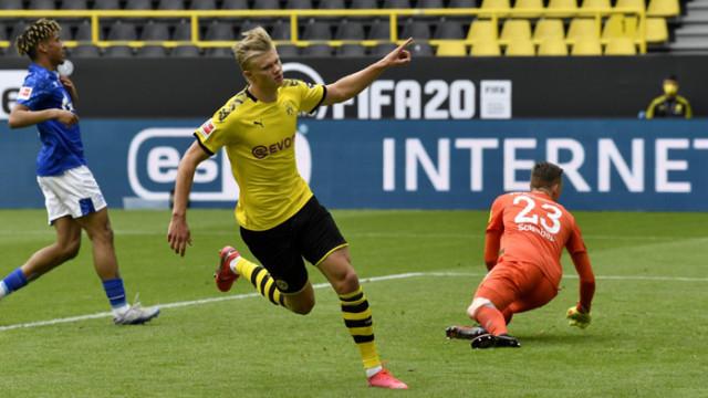 Холанд поведе Дортмунд към разгром над Шалке при рестарта на Бундеслигата