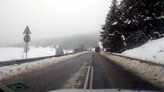 Силен сняг на Предела, спряха камионите над 12 тона