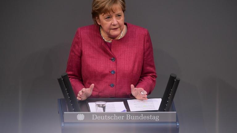 Германският канцлер АнгелаМеркел призова депутатите да одобрят нови правомощия, които