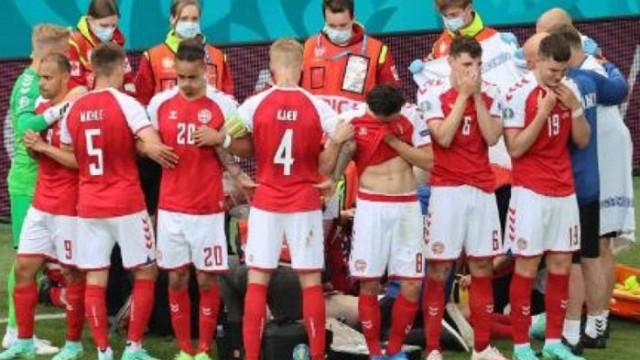 Прекратиха Дания - Финландия заради колабирал футболист